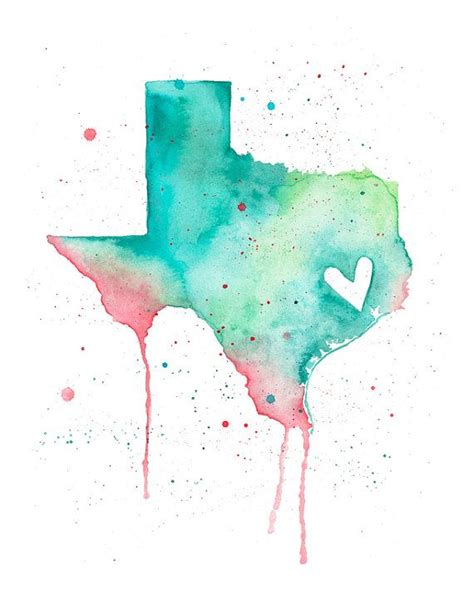 watercolor tattoo texas 5x7