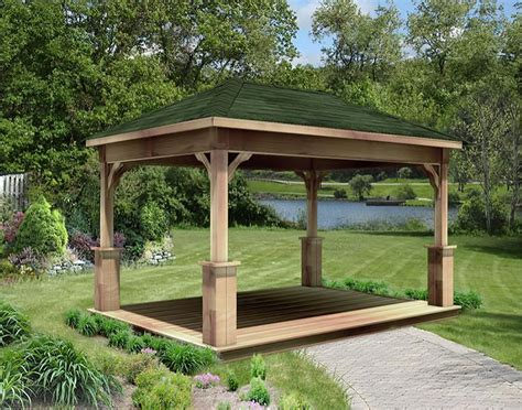 open gazebo cut cedar single roof open rectangle gazebos