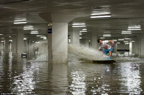 daredevils use flooded car park as wakeboarding