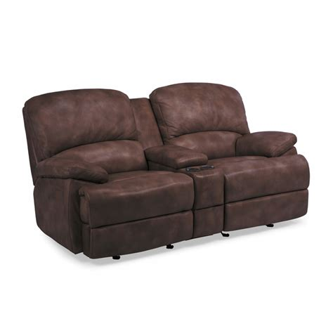 leather reclining sofa with console flexsteel 1127 604p dylan leather power chaise reclining