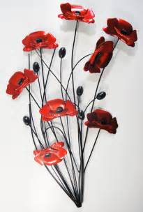 metal wall poppy flower bunch black stems