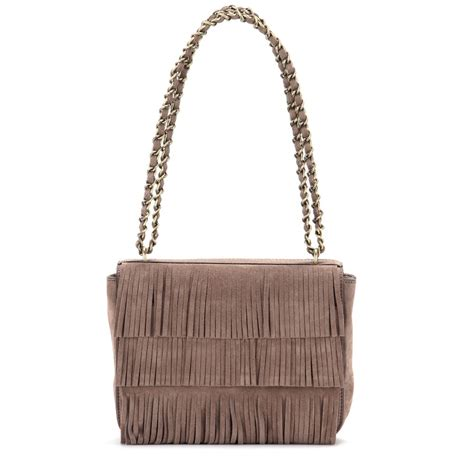 Fringe Bag lyst burch fringe suede shoulder bag in brown