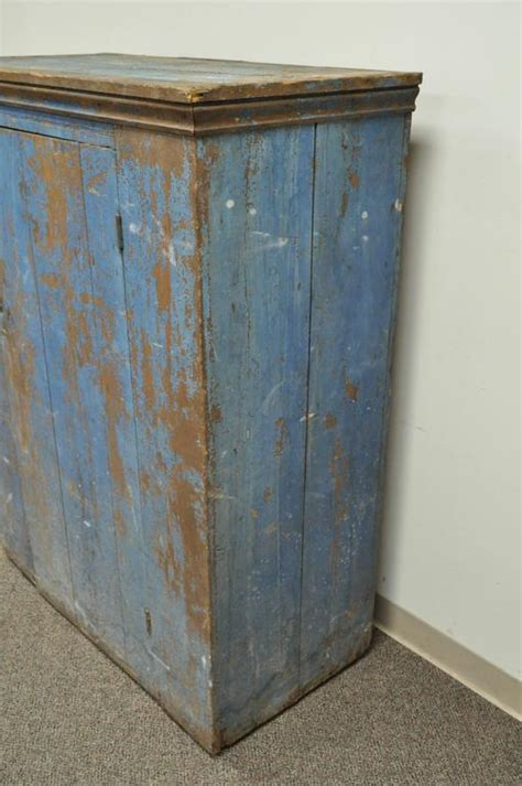 Primitive Painted Kitchen Cabinets Antique Blue Distress Painted Pa Rustic Primitive Jelly Cupboard Kitchen Cabinet For Sale At 1stdibs