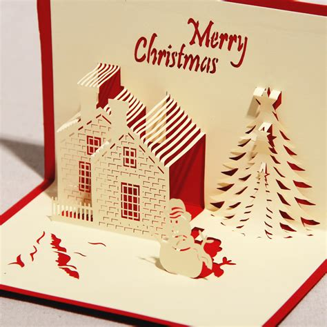 Paper Craft Cards - 3d greeting card castle in winter handmade paper craft 3d