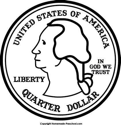 Drawing Quarter by Quarter Black And White Clipart