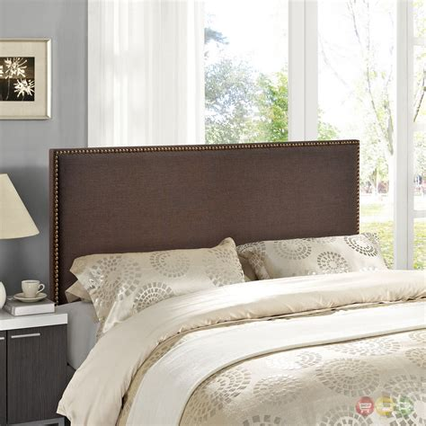 brown upholstered headboard region queen nail head trimmed upholstered headboard dark