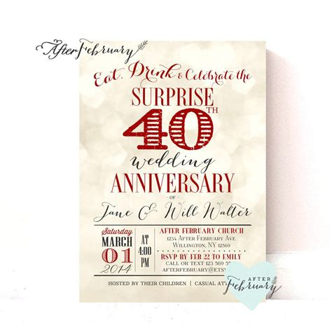 Ruby Wedding Anniversary Card Template by 40th Anniversary Invites 40th Anniversary Invite Wording