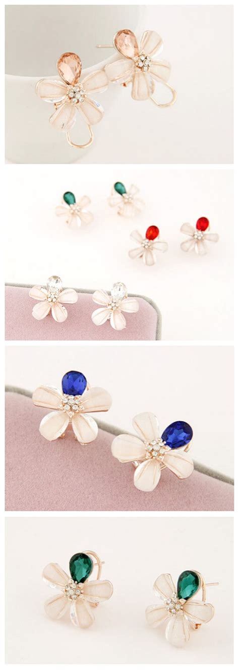 Anting Korea Sweet Flowers Resin Simple Earrings korean fashion blooming flower design ear studs transparent