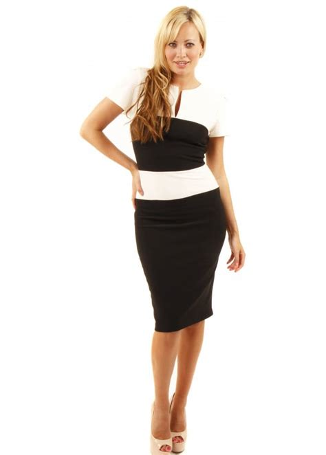 Dress Carol 3 charming black ivory colour block pencil dress as seen on carol vorderman