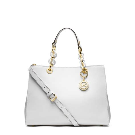 Gorgeous Anthropologie Time After Time Satchel Bag by Michael Kors Cynthia Medium Leather Satchel In White Lyst
