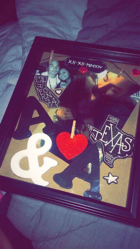 shadow box i made for my boyfriend in texas