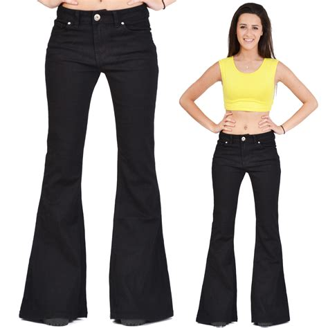 70s Flare by New Womens Black 60s 70s Retro Bellbottom Denim Flares