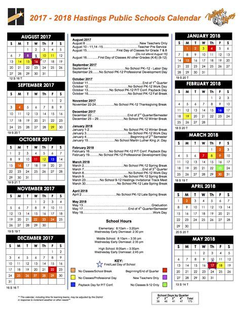 Middle School Calendar by Calendars Hastings Schools