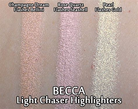 becca light chaser highlighter becca light chaser highlighters review swatches