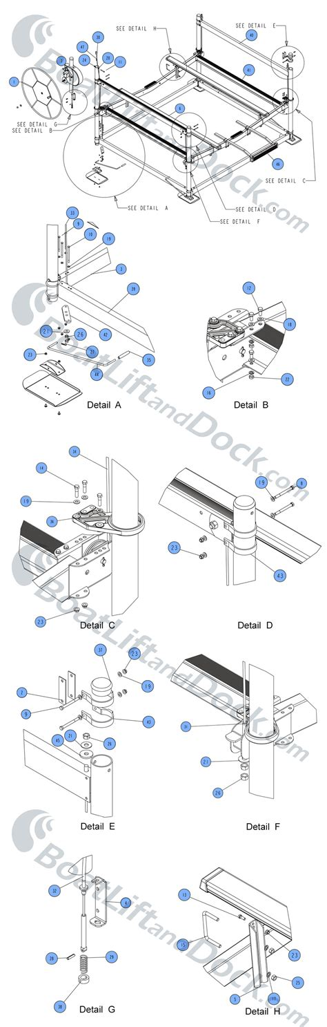 boat dock lift parts boat lift and dock ssv60120 parts diagram