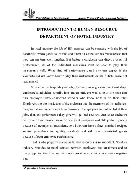Appraisal Introduction Letter a project report on hr practice in hotel industry