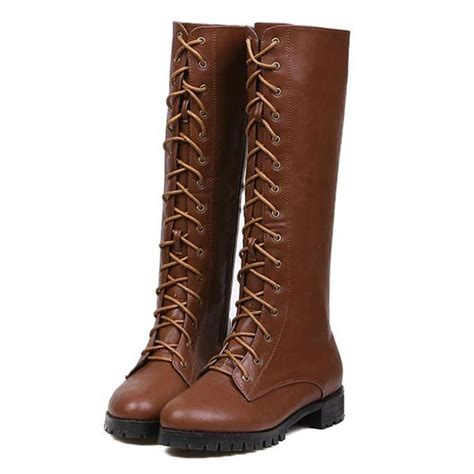 brown pu lace up knee high boots womens fashion
