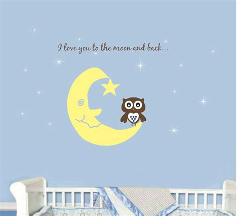 Nursery Sayings Wall Decals Nursery Owl Wall Decal You To The Moon Saying Wall Decal Baby Boy Nursery Decal Baby