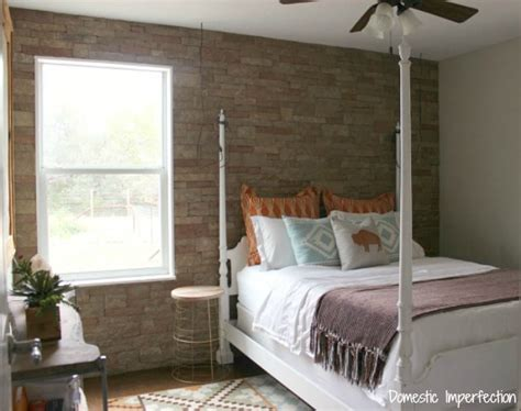 stone accent wall bedroom charming home tour domestic imperfection town