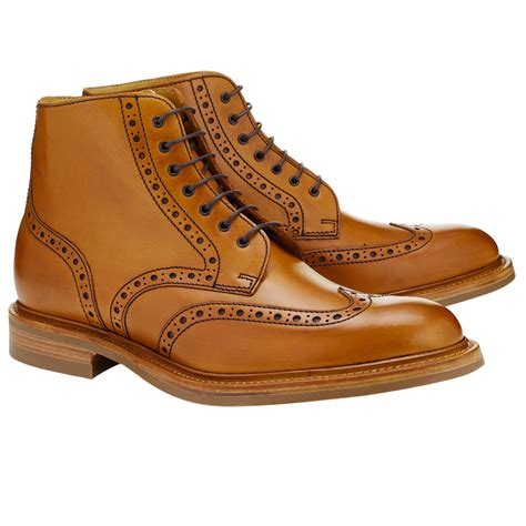 mens boots lewis lewis made in leather brogue boots for lyst