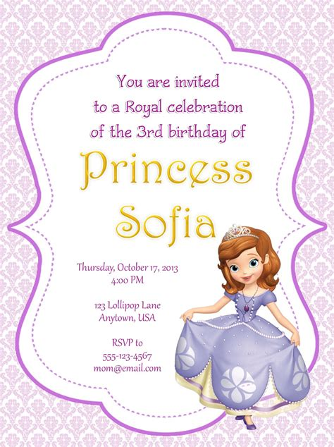 printable invitations of sofia the first i make i share august 2013