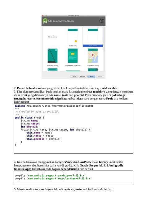 belajar layout android studio belajar android studio material design penggunaan