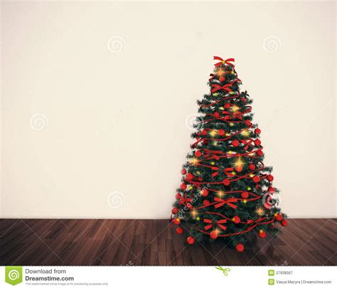 christmas tree in empty living room royalty free stock