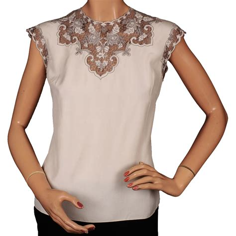 Prio Blouse X S M L vintage 1960s embroidered lace silk blouse m