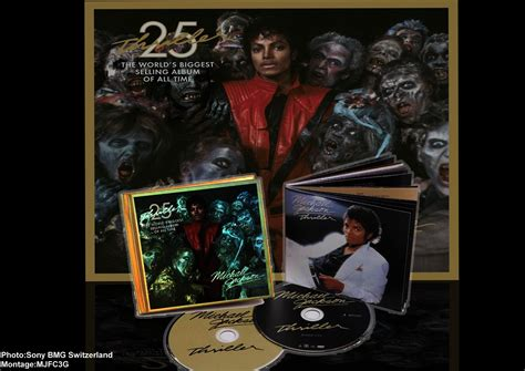 Thriller 25th Anniversary Edition Album Cover Michael Jackson Works With Akon Fergie William Kanye West For 212 Re Release by Michael Jackson Fan Club 3generations