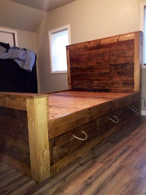 pallet bed and headboard with storage pallet furniture diy