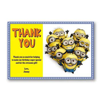 printable minion thank you cards shop minion party on wanelo