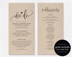 Program Template For Wedding by Wedding Program Template Wedding Program Printable We Do