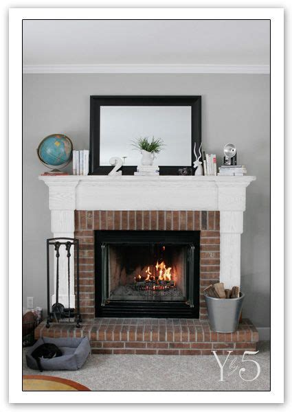 brick fireplace mantle grey walls white mantle brick fireplace the