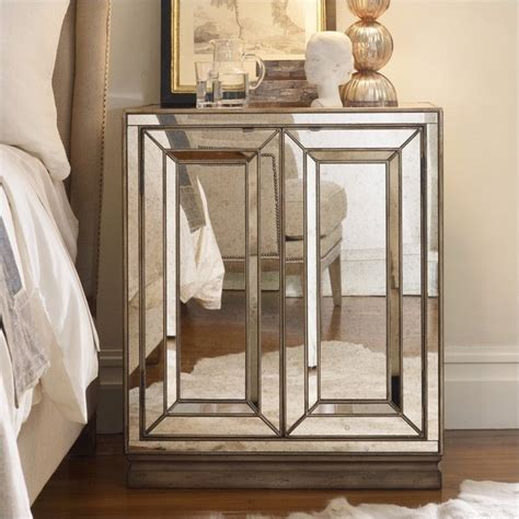 Mirrored Nightstand Sales by Furniture Sanctuary Two Door Mirrored Nightstand In