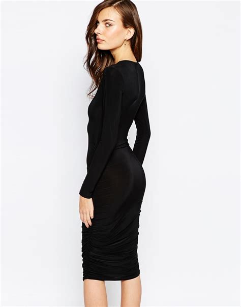 club l essentials plunge neck midi dress with ruching in