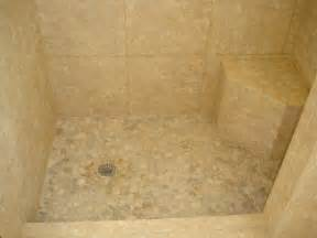 Tile Shower Floors by Shower With 18 215 18 In Porcelain Tile With River Rock Shower