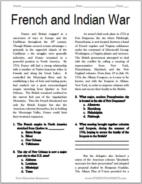 reading comprehension test in french french and indian war reading with questions student