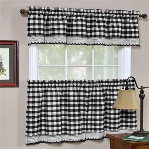 kitchen curtains black classic buffalo check kitchen black and white curtain set or separates 17439749 overstock