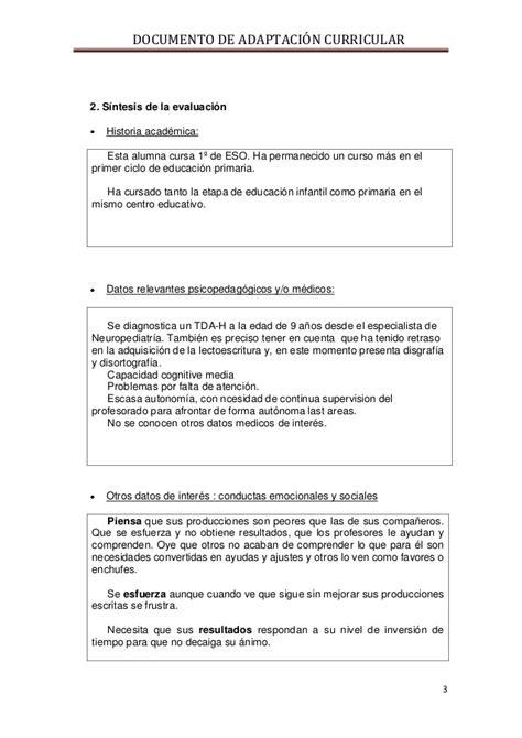 Modelo Adaptacion Curricular Ingles Primaria modelo de adaptaci 243 n curricular curso tdah1314 tarea
