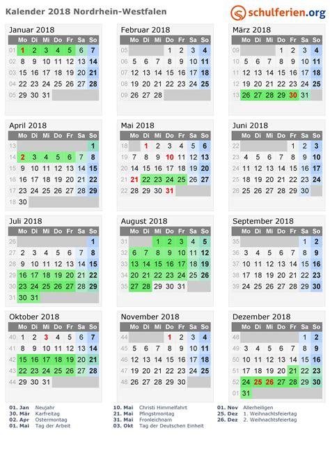 Kalender 2018 Mit Ferien Nrw Kalender 2018 Ferien Nordrhein Westfalen Feiertage