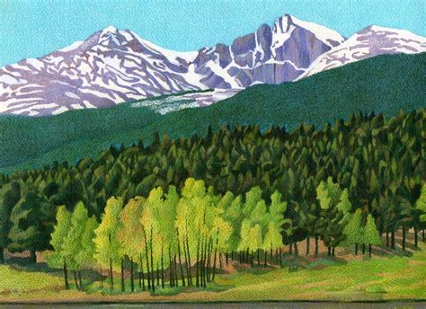 evergreen color impression evergreen longs peak colored pencil drawing