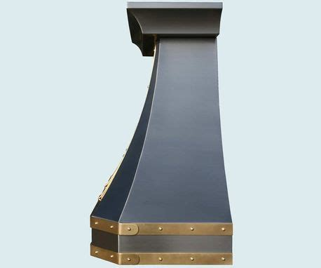 Hand Made Stainless Range Hood Brass Straps & Rivets by