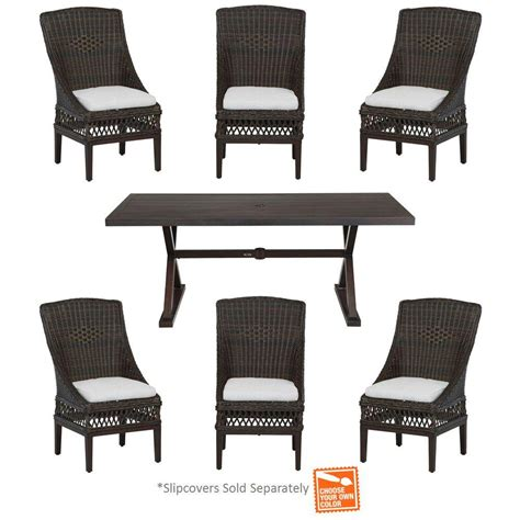 Hton Bay Woodbury 7 Piece Patio Dining Set With Cushion Patio Furniture Inserts
