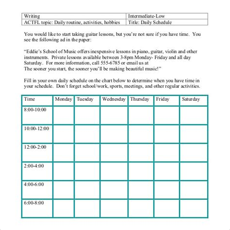 daily routine checklist template daily schedule template 34 free word excel pdf