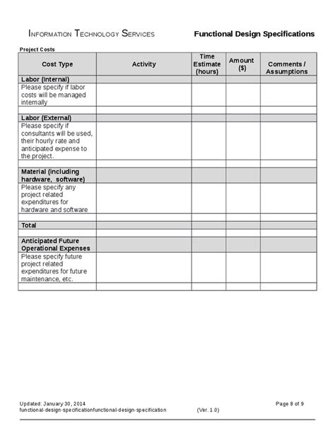 functional specification document template functional design specification hashdoc