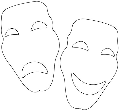 Theatre Mask Outline by Theater Masks Silhouette Free Vector Silhouettes