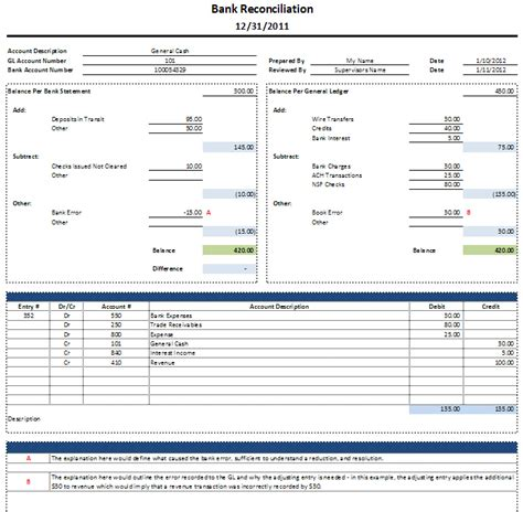 excel bank statement template bank reconciliation template pdf images