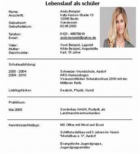 Lebenslauf Schuler Schweiz Lebenslauf Als Sch 252 Ler Dokument Blogs