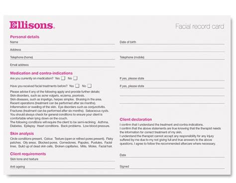 Eyelash Extensions Record Card Template by Record Cards Treatment 50