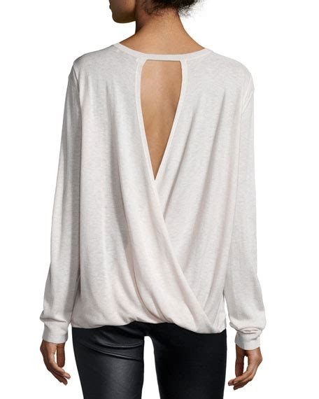 drape back sweater halston heritage long sleeve drape back sweater dark bone